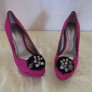 """5"""" High Heel Platform Shoes w/Beaded Accents-"""